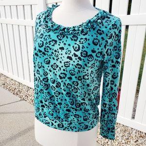 Teal cheetah leopard long sleeve scoop neck blouse